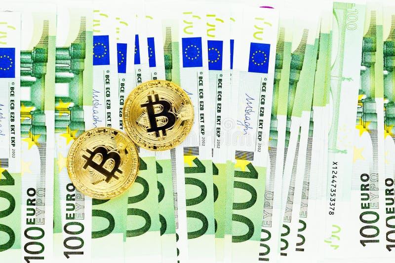 Bitcoins i Euro banknoty obraz royalty free