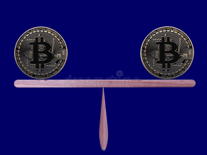 Bitcoins i jämvikt royaltyfria bilder