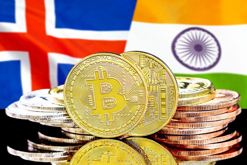Bitcoins on Iceland and India flag background. Concept for investors in cryptocurrency and Blockchain technology in the Iceland and India. Bitcoins on the royalty free stock images