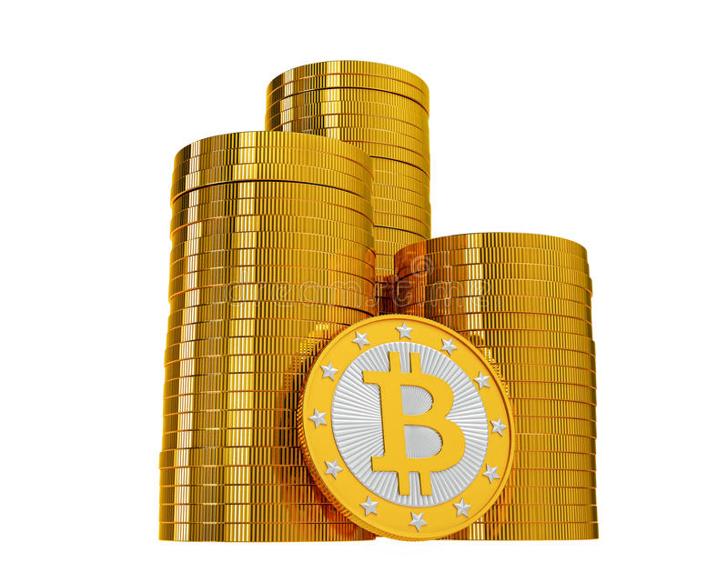 Bitcoins - isolated on white. My own design for Bitcoins. Rendered with Blender 3D stock illustration