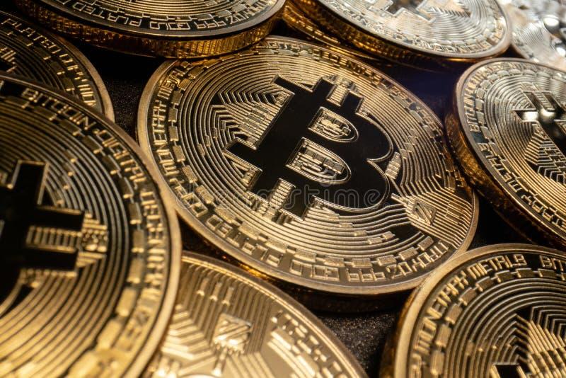 Bitcoins macro fotografia de stock royalty free