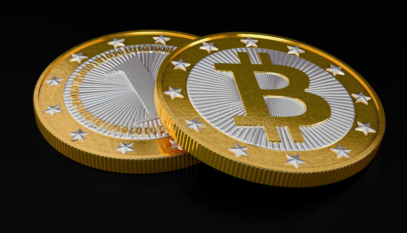 Bitcoins. My own design for Bitcoins. Rendered with Blender 3D stock photo