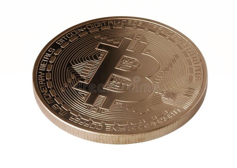Bitcoins närbild som isoleras på vit royaltyfri foto