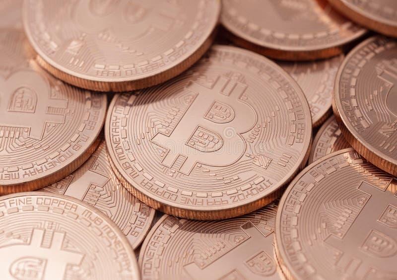 Bitcoins n?rbild arkivfoton