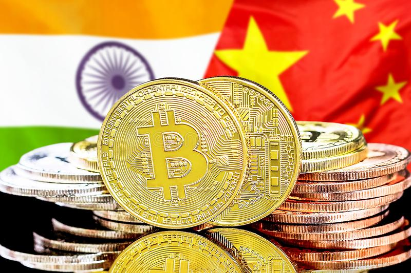 Bitcoins na India i Chiny fladze tło fotografia stock