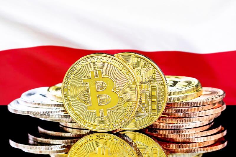 Bitcoins na Polska flagi tle zdjęcie stock