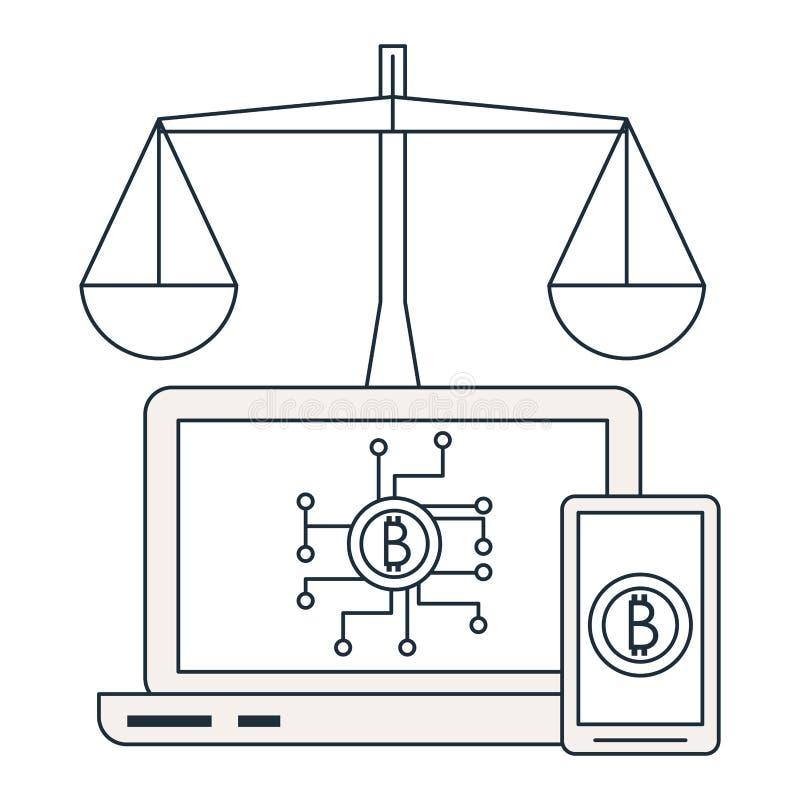 Bitcoins na smartphone i laptopie ilustracja wektor