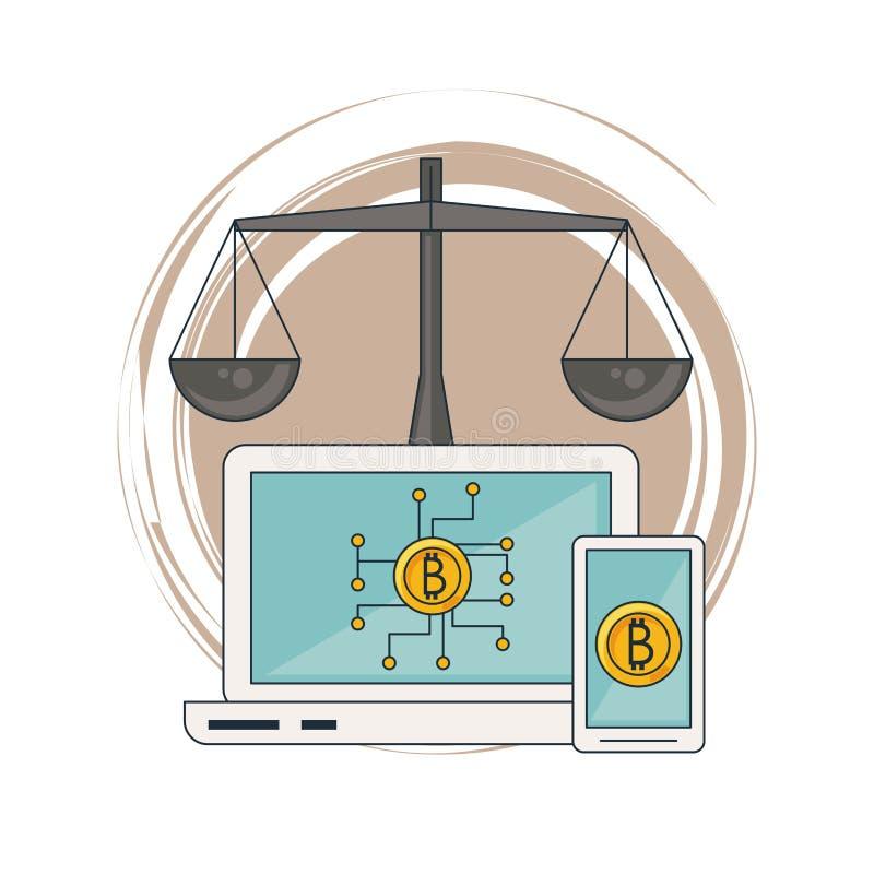 Bitcoins na smartphone i laptopie ilustracji