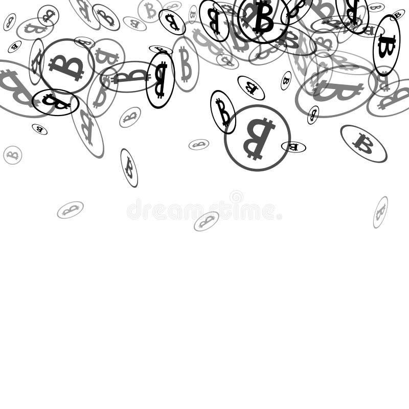 Bitcoins negro en el fondo blanco ilustración del vector