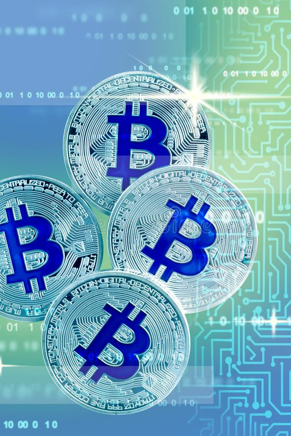 Bitcoins no fundo futurista Conceito de Cryptocurrency fotografia de stock