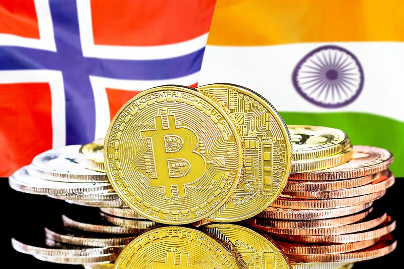 Bitcoins on Norway and India flag background. Concept for investors in cryptocurrency and Blockchain technology in the Norway and India. Bitcoins on the stock image