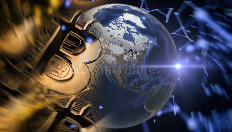 Bitcoins, nouvel argent virtuel sur le divers fond numérique, 3D rendent photographie stock libre de droits