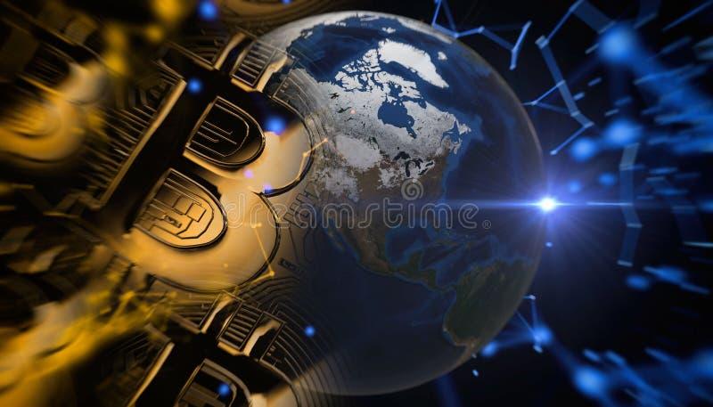 Bitcoins, nouvel argent virtuel sur le divers fond numérique, 3D rendent image stock