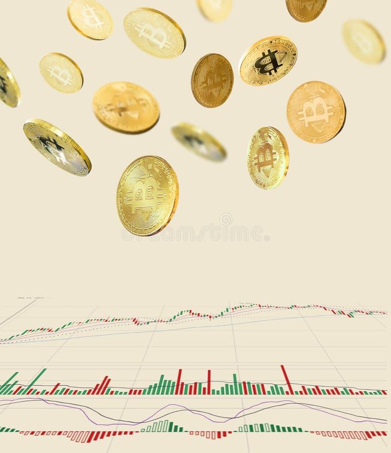 Bitcoins och nytt faktiskt pengarbegrepp Guld- bitcoins med diagrammet för stearinljuspinnegraf och digital bakgrund arkivfoton
