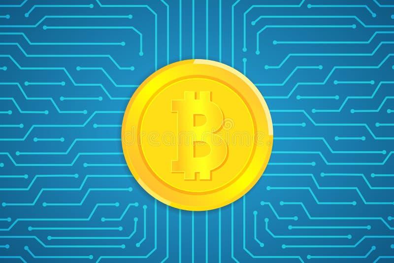 Bitcoins op krings vectorontwerp als achtergrond voor digitale zaken stock illustratie