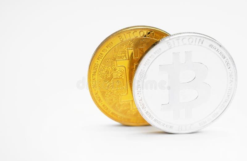 Bitcoins op witte Achtergrond royalty-vrije stock foto's