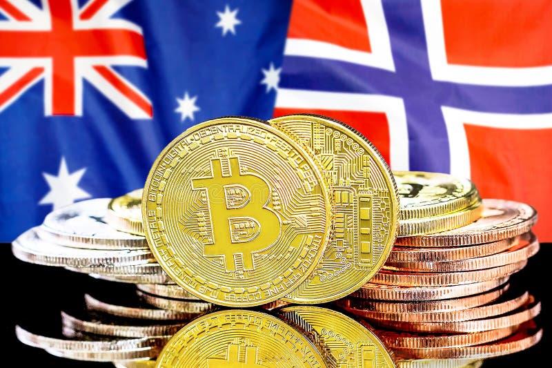 Bitcoins på Australien och Norge flaggabakgrund royaltyfri foto