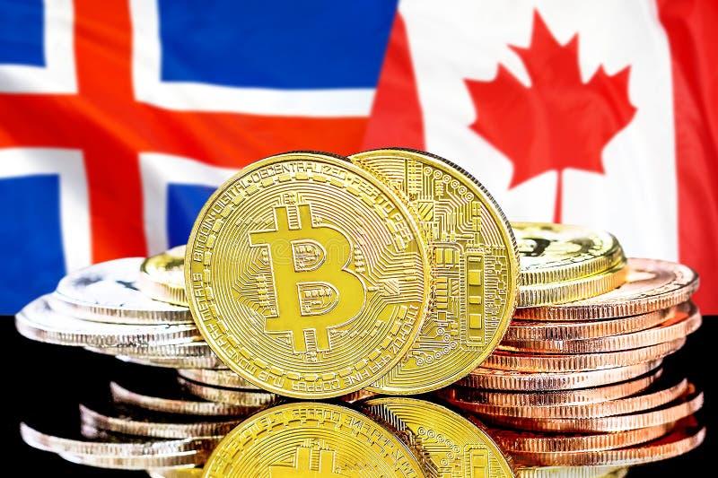 Bitcoins på Island och Kanada flaggabakgrund royaltyfria foton