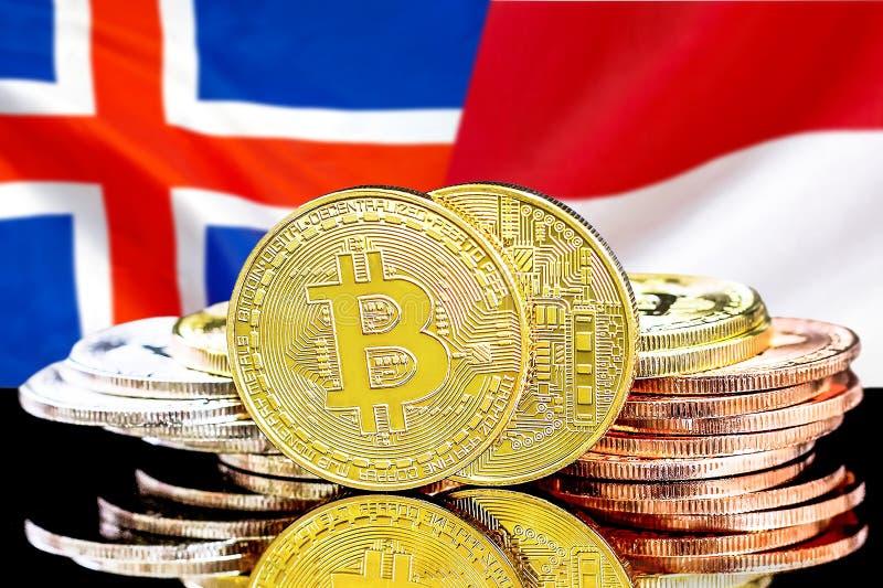 Bitcoins på Island och Monaco flaggabakgrund arkivfoton