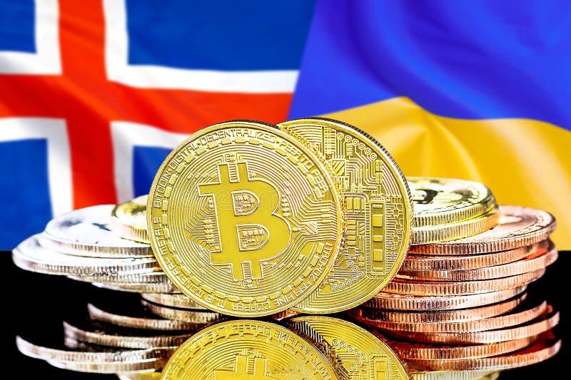 Bitcoins på Island och Ukraina flaggabakgrund royaltyfri bild