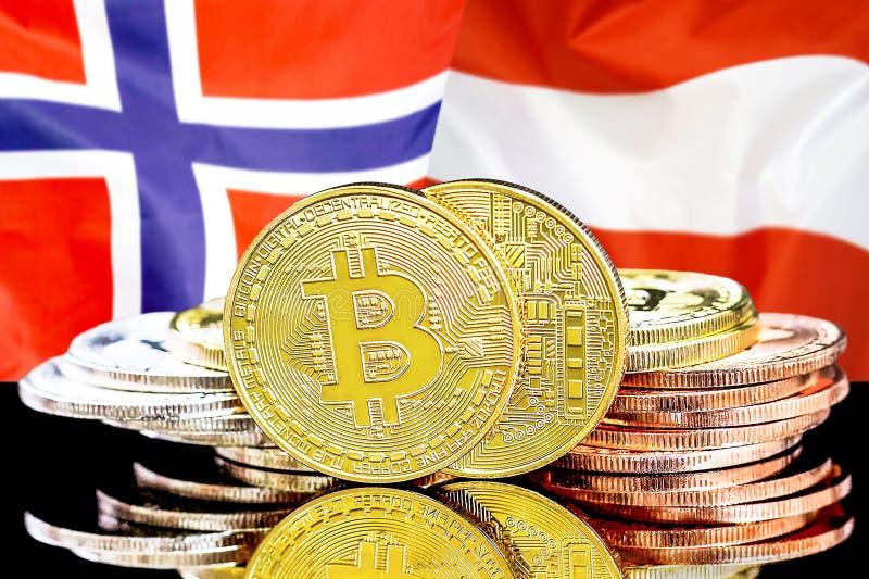 Bitcoins på Norge och Österrike flaggabakgrund royaltyfria foton