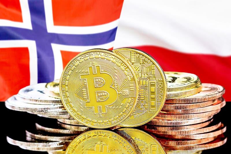 Bitcoins på Norge och Polen flaggabakgrund arkivbilder