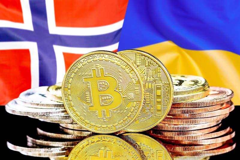 Bitcoins på Norge och Ukraina flaggabakgrund royaltyfri bild