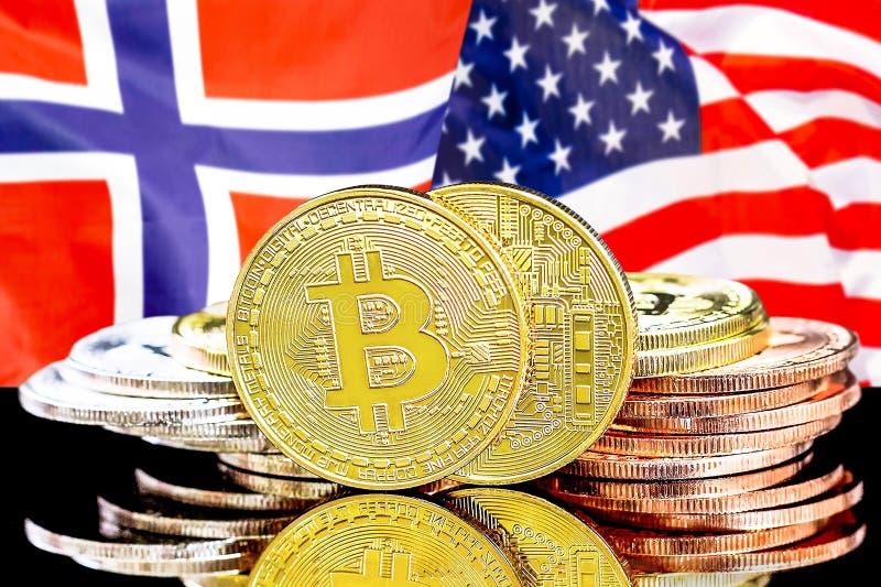 Bitcoins på Norge och USA flaggabakgrund arkivfoto