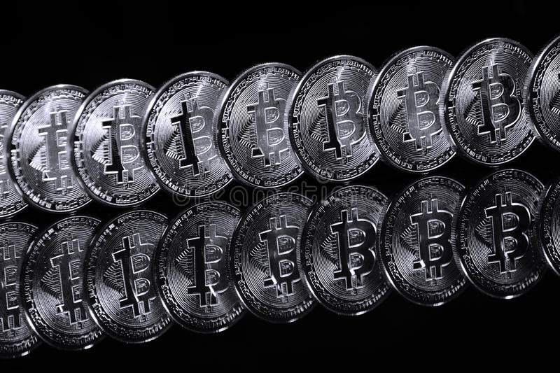Bitcoins in row royalty free stock images