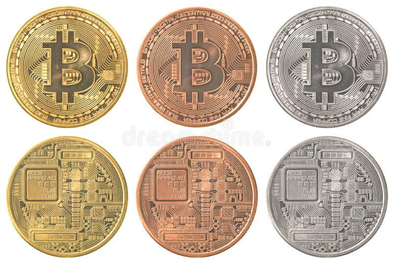 Bitcoins samlingsuppsättning royaltyfria bilder
