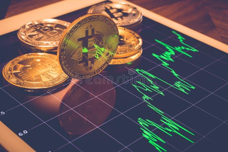 Bitcoins-Showlicht-Schirmreflex des Preisdiagramms lizenzfreie stockfotos