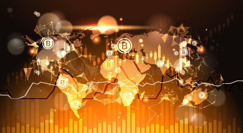 Bitcoins sobre el fondo Finacial del mapa del mundo traza y representa concepto Crypto moderno del dinero gráficamente de Digitac ilustración del vector