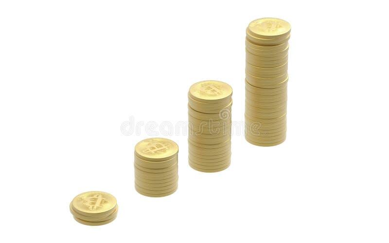Bitcoins-Stapel-Aufstieg stockbilder