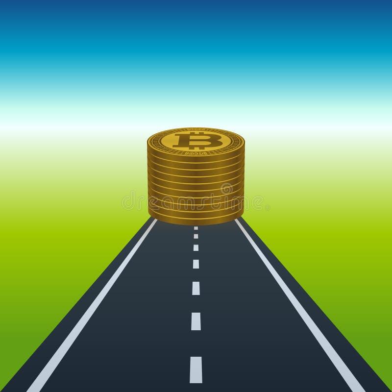 Bitcoins sterta przy końcówką droga ilustracji