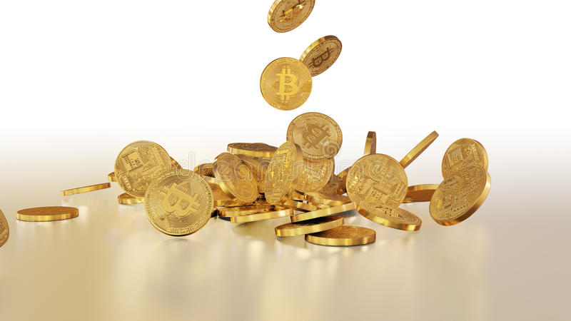 Bitcoins tombant sur une pile photo stock