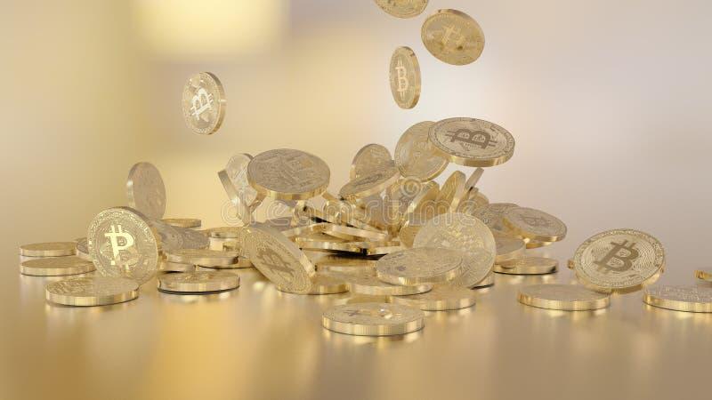 Bitcoins tombant sur une pile photographie stock