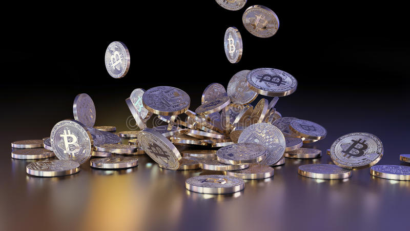 Bitcoins tombant sur une pile illustration stock