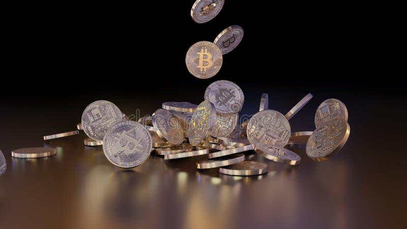 Bitcoins tombant sur une pile illustration de vecteur