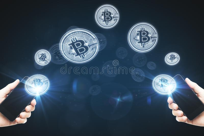 Cryptocurrency and trade concept stock image