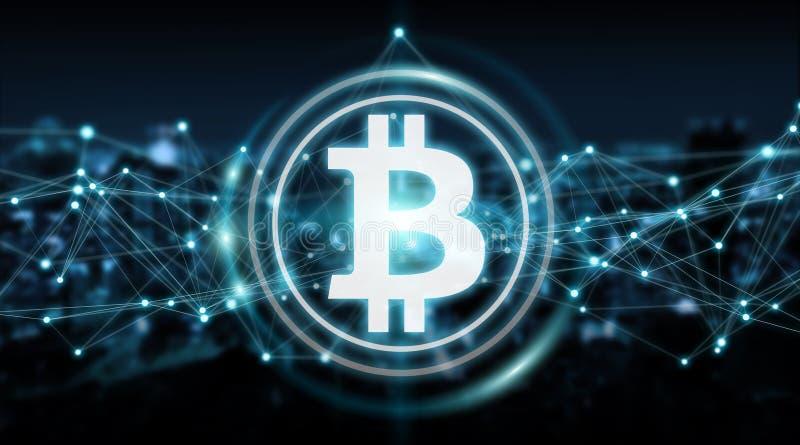 Bitcoins troca a rendição do fundo 3D ilustração stock