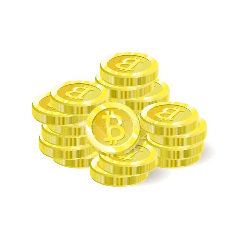 Bitcoins, uma pilha de moedas do isolamento Moeda cripto futura de Digitas, mineração, pagamentos eletrônicos Ilustração do vetor ilustração royalty free
