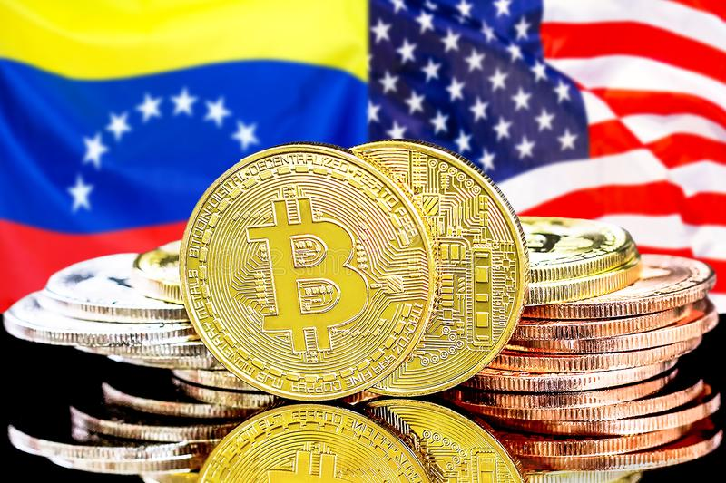 Bitcoins on Venezuela and USA flag background. Concept for investors in cryptocurrency and Blockchain technology in the Venezuela and United States of America stock photos