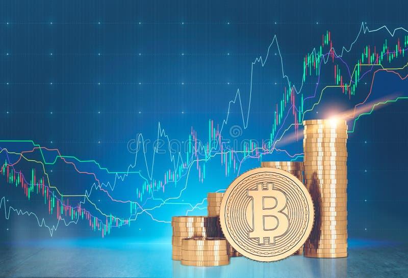 Bitcoins, wykresy, błękitny tło fotografia royalty free
