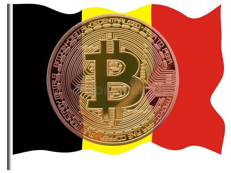 Bitcoins y Bélgica stock de ilustración