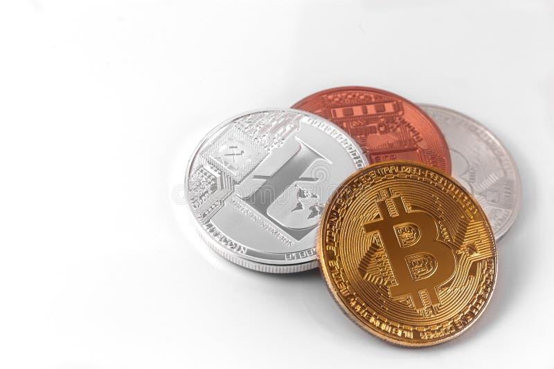 Bitcoins y Litecoin imagen de archivo