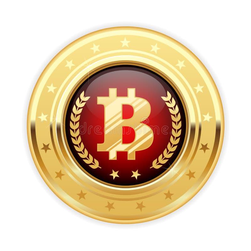 Bitcoinsymbool op gouden medaille - cryptocurrencypictogram royalty-vrije illustratie
