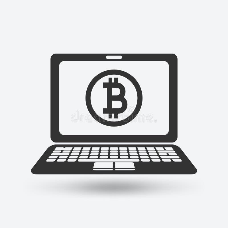 Bitcoinsymbool op laptop het scherm stock illustratie