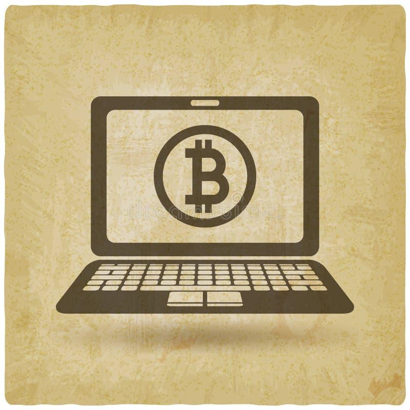 Bitcoinsymbool op laptop het scherm uitstekende achtergrond vector illustratie