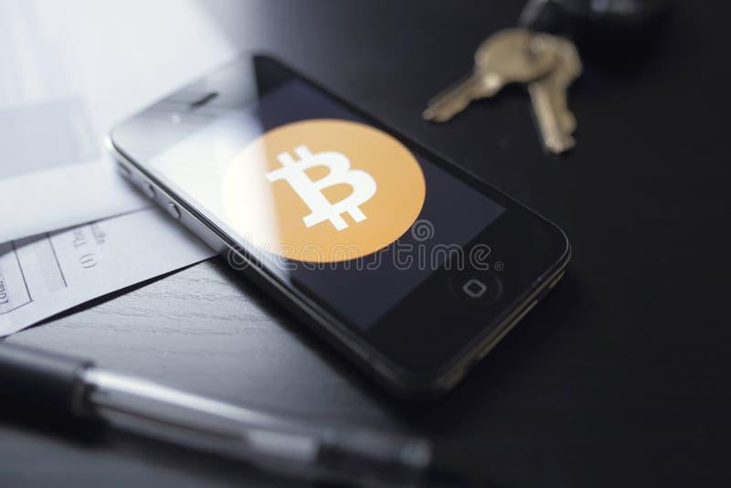 Bitcointechnologie stock afbeelding