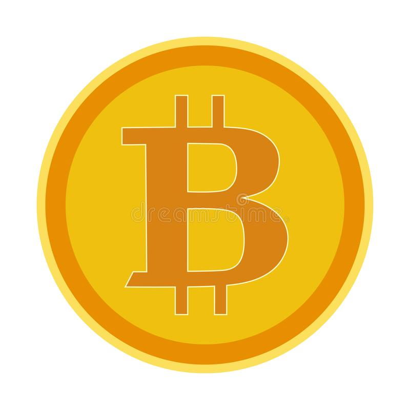 Bitcointeken, pictogram voor Internet-geld Crypto van het muntsymbool en muntstuk beeld royalty-vrije illustratie